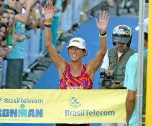 Joanna winning the 2005 Ironman Brazil